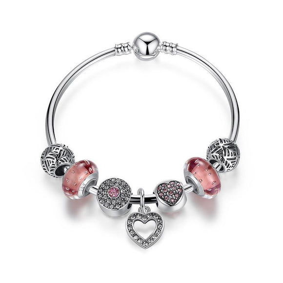 Heart Charm Bangle For Women Fashion DIY Beads