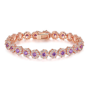 High Quality AAA Crystal Zircon & Gold Color Chain Bracelet For Women Jewelry