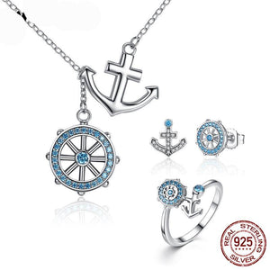 Authentic 100% 925 Sterling Silver Blue CZ Anchor & Rudder Ocean Jewelry Set