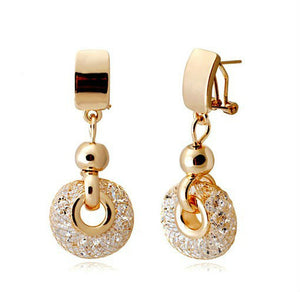 HOT SELLING  Luxury  Champagne Gold Drop Earrings Wire Zircon Crystal Female Fashion Jewelry
