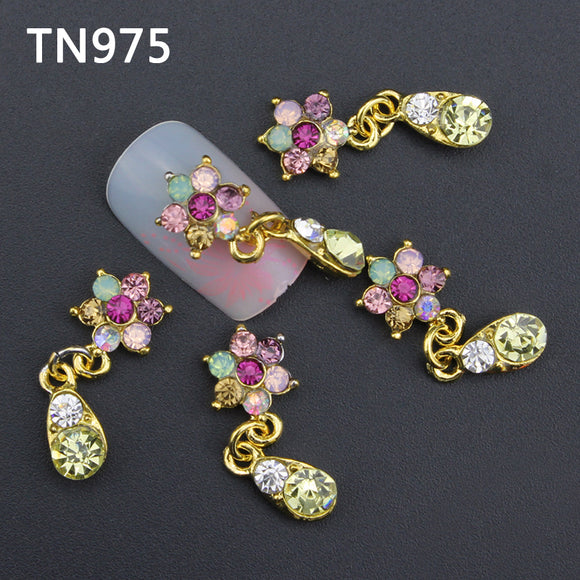10pc Cute Colorful Flower with Rhinestones Nail Charms Jewelry