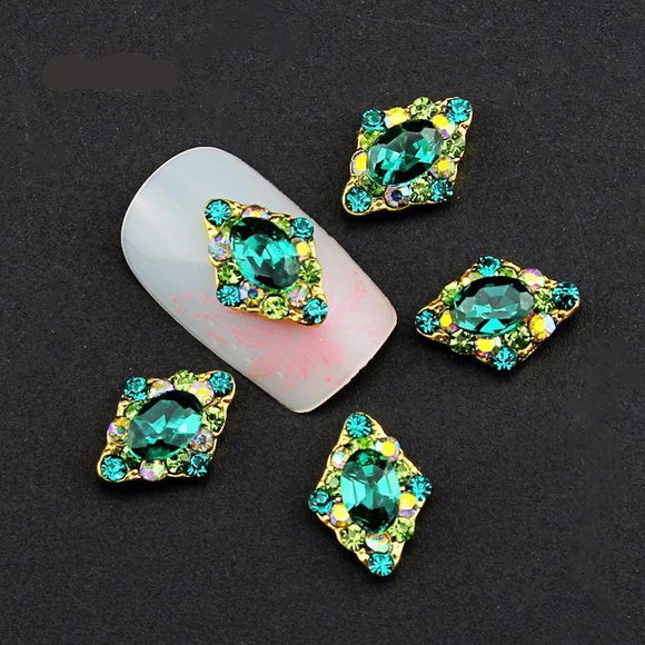 10pc 3D Green Rhinestones Alloy Charms  for Nail Jewelry