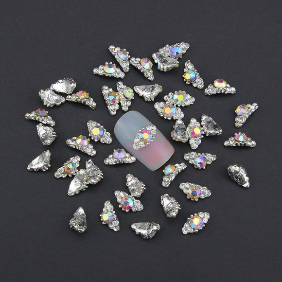 10pc Holographic Rhinestones Alloy Nail Jewelry