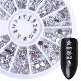 3D Nail Art Rivet Holographic, Grey Matte, Star, Round, Square & Triangle Studs