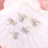 10pc  Dragonfly Rhinestone Charm  Nail Jewelry