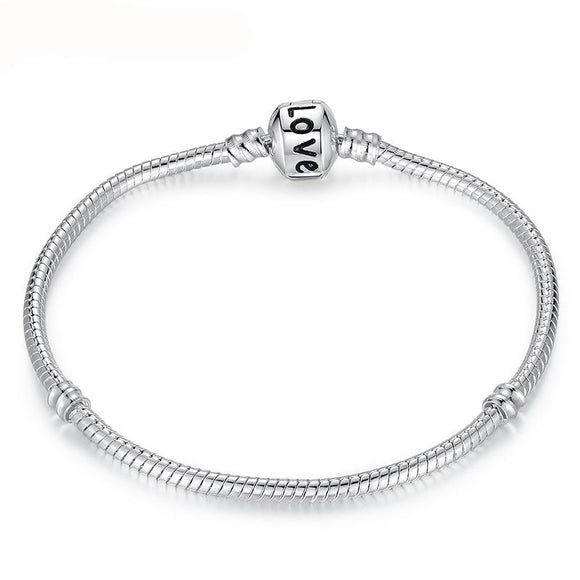 Silver Love Snake Chain Fit Original Bracelet Charm Bead Jewelry Gift For Men Women