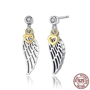 100% 925 Sterling Silver Love & Guidance Feather Stud Earrings