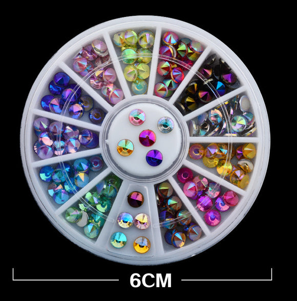 Holographic Rhinestone 12 Color 3D Nail Art  Wheel
