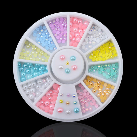 Synthetic Pearl Nail Art  Wheel 12colors Mix Sizes