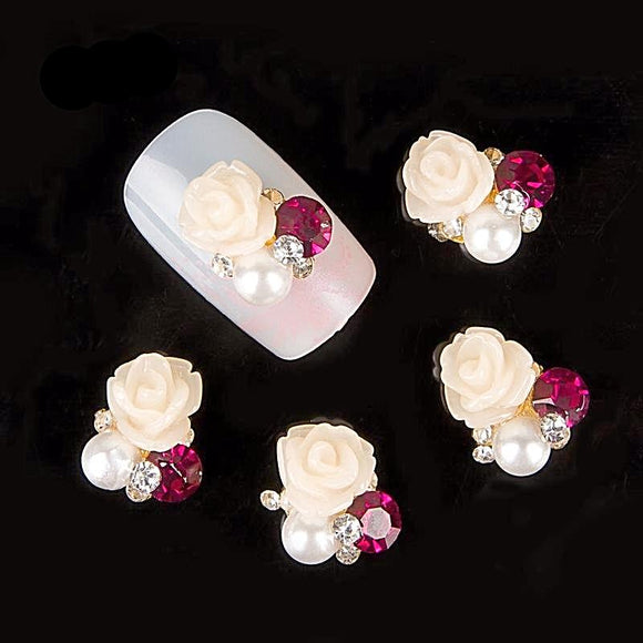 10pc 3D beige flower Charms Nail Jewelry