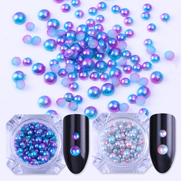 Semi-circle Pearl Bead Gradient Flat Bottom