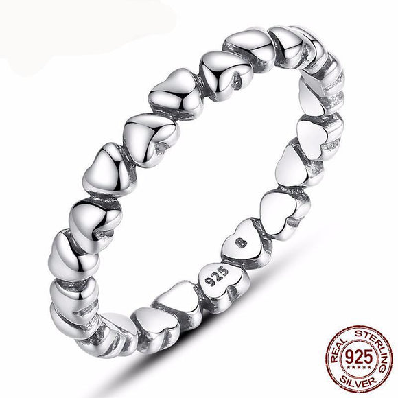 100% 925 Sterling Silver Love Heart Wedding Rings For Women Fine European Jewelry