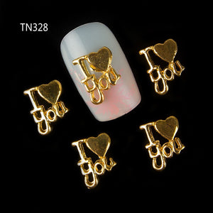 New 10Pcs 3D Gold Letters I lOVE YOUL ove Heart  Nail Jewelry  DIY Nail Art Decorations