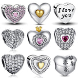 100% Authentic 925 Sterling Silver Heart Shape Charm Beads Fit WST Charm Bracelet DIY Original Silver Jewelry