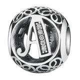 Authentic 925 Sterling Silver Vintage A-Z Letter Alphabet Charms Fit Original WST Charm Bracelets & Bangles Silver Jewelry