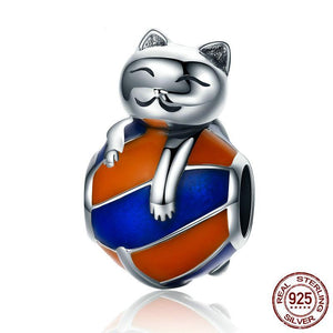 Naughty Cat Beads 100% 925 Sterling Silver Charm Bracelet  DIY Jewelry