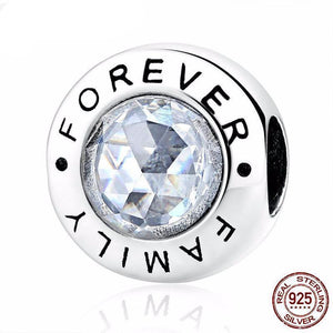High Quality 925 Sterling Silver Family Forever Charm Beads Clear CZ Fit Original WST Charm Bracelet Authentic Jewelry Gift