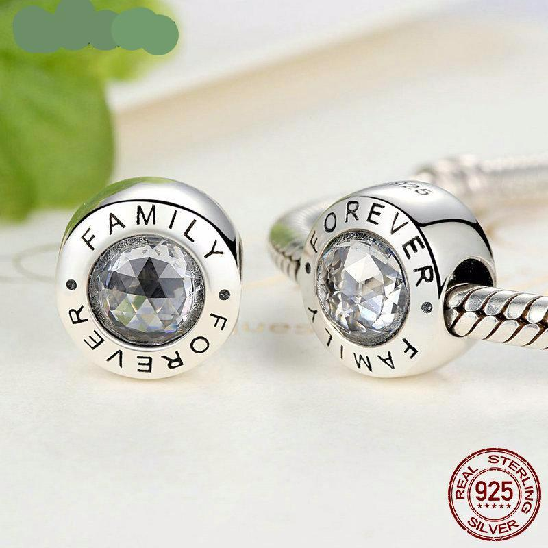 9301c82ad ... High Quality 925 Sterling Silver Family Forever Charm Beads Clear CZ  Fit Original WST Charm Bracelet ...