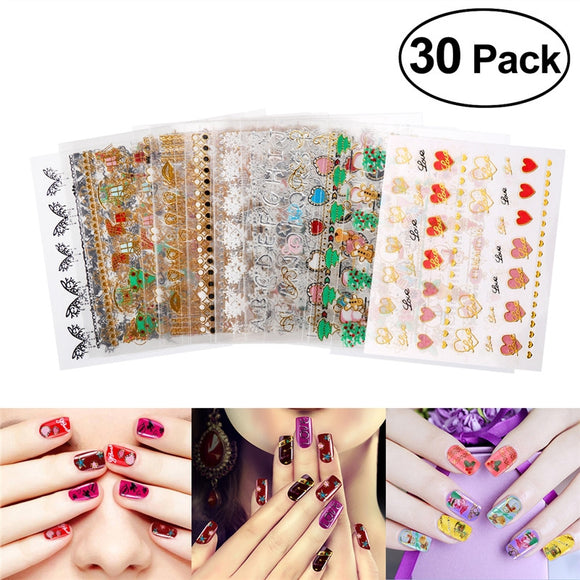 30 PCS Creative Nail Stickers Decals 3D Nail Art Designs