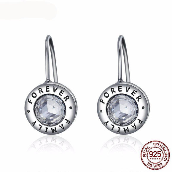 100% Authentic 925 Sterling Silver Family Forever Drop Earrings For Women Original Fine Jewelry