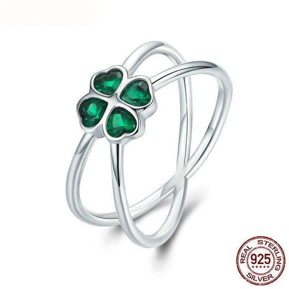 Sterling Silver Green Lucky Four-Leaf Clover Finger Rings for Women