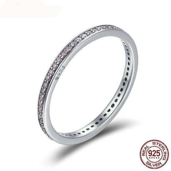 100% 925 Sterling Silver Stackable Ring Classical Round Dazzling CZ Geometric Finger Rings for Women Engagement Jewelry