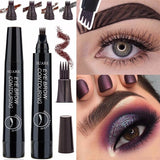 4 Colors 5.5g Microblading Eyebrow Tattoo Pen with 4 Fork Tips Sketch Makeup Brow Pencil Waterproof