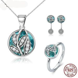 Hot Sale Authentic 925 Sterling Silver Green Radiant Leaves Jewelry Set