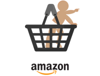 Illustration, baby standing in a shopping basket
