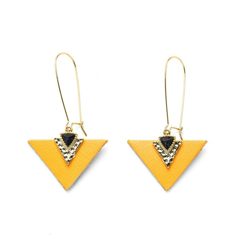 Charly James - Boucles d'oreilles - Gabrielle Jaune pierre noire - made in france
