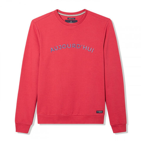 "Gentle Factory - Sweat rouge brodé ""Aujourd'hui"""