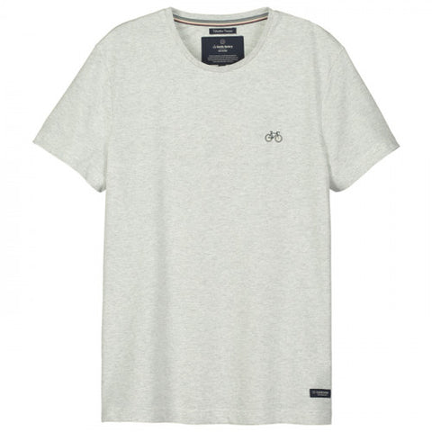 Gentle Factory - T-shirt gris clair brodé vélo