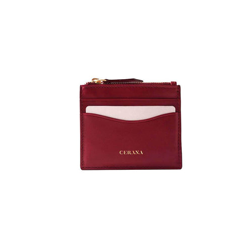 Leather card holder burgundy