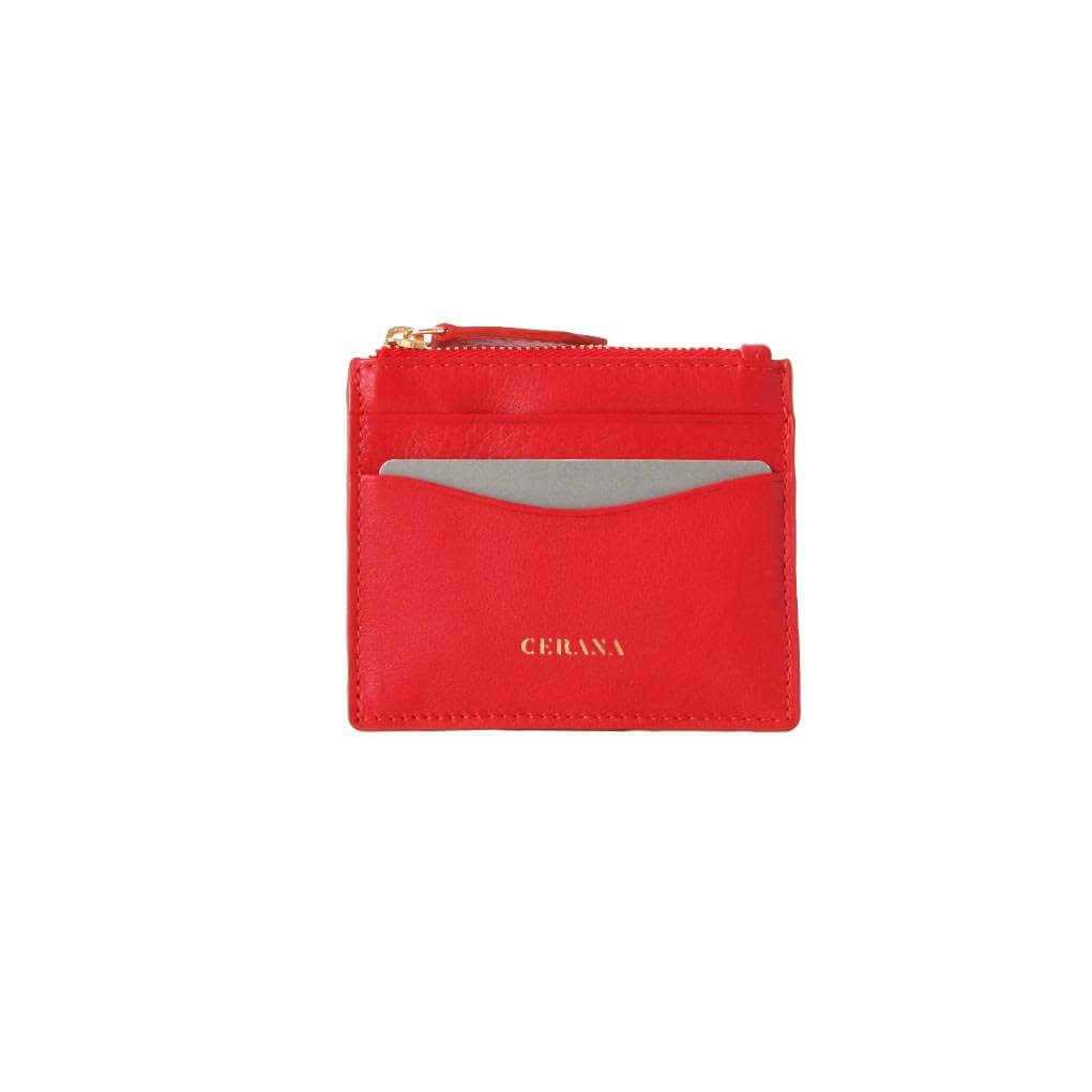 cerana leather card holder red