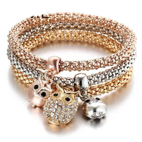 Crystal Owl Crown Charm Bracelets