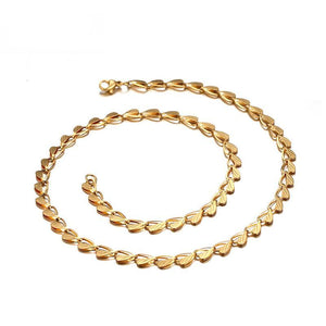 Gold Leaf Chain Choker Necklace