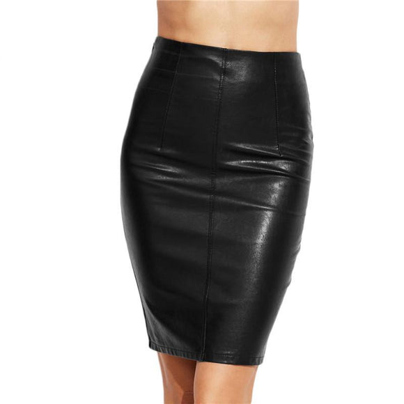 Style PU Leather Woman Skirts