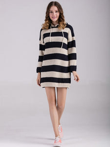 Striped Hooded Ladies Clothes