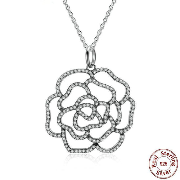 Silver Shimmer Rose Pendant Necklace