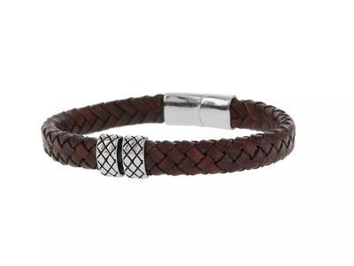 BARONG BARONG BB0060 Woven Leather elements armband (21cm)