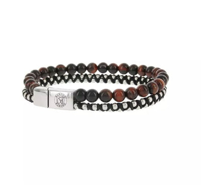 BARONG BARONG 14EA armband Leather and Beads bruin (21cm)