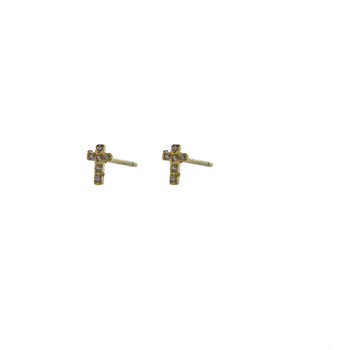 GO Dutch Label earstud cross stones E0779 in het goud of zilver