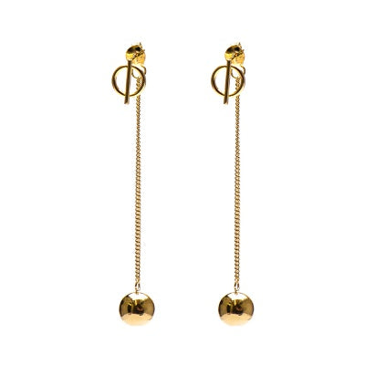 Karma-pull-through-oorbel-M1860-hanging-balls-goud
