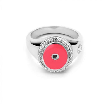 Mi Moneda-MMV ICONS RING OVAL 925 SILVER SILVER PLATED WITH RED ENAMEL
