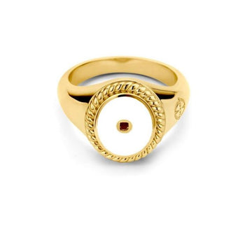 Mi Moneda-MMV ICONS RING OVAL 925 SILVER GOLD PLATED WITH WHITE ENAMEL