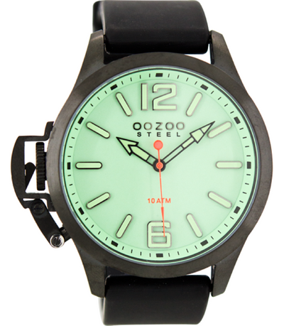 Oozoo Steel Horloge zwart/diving green-OS409 (46mm)