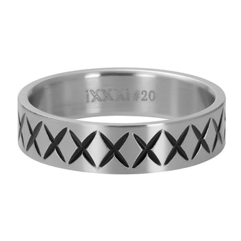 iXXXi invulring heren Cross Line R09601 Zilver of Zwart (6MM)