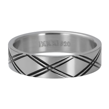 iXXXi invulring heren Double Line R09603 Zilver of Zwart (6MM)