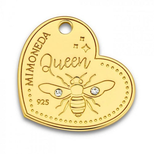 Mi Moneda-MMM QUEEN BEE TAG HEART 20MM 925 SILVER WITH SWAROVSKI CRYSTALS
