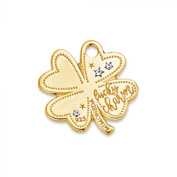 Mi Moneda-MMM LUCKY TAG CLOVER 20MM 925 SILVER GOLD PLATED WITH SWAROVSKI CRYSTALS